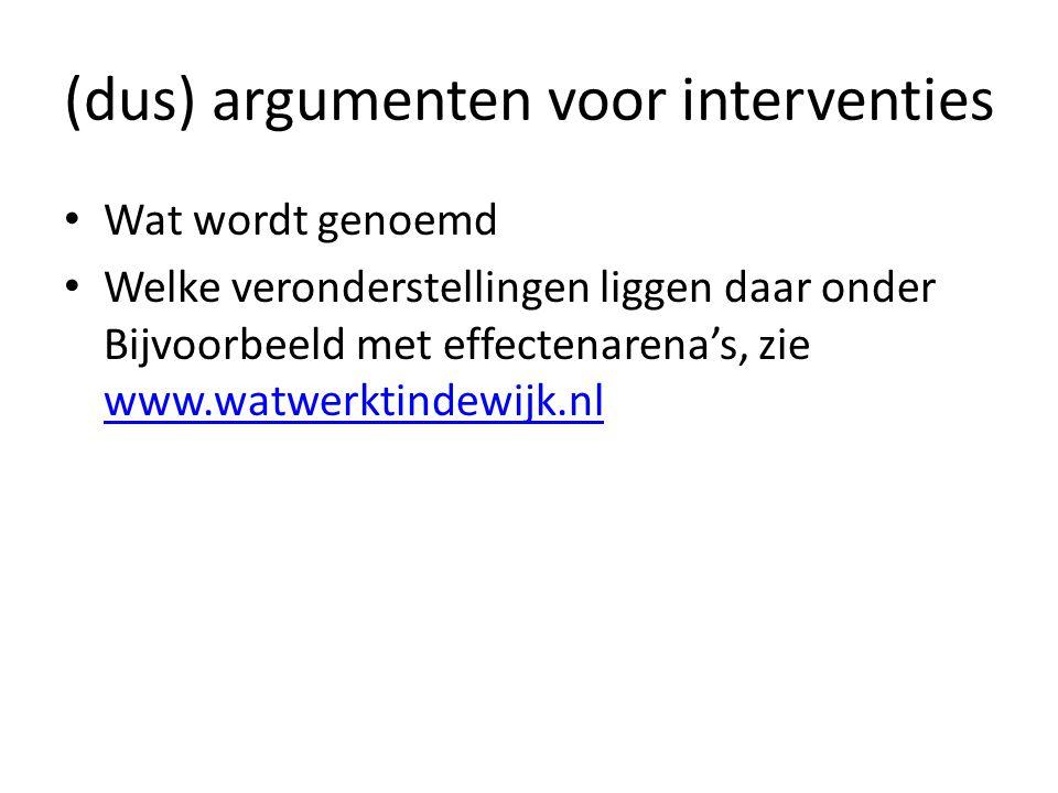 (dus) argumenten voor interventies Wat wordt genoemd Welke veronderstellingen liggen daar onder Bijvoorbeeld met effectenarena's, zie www.watwerktinde