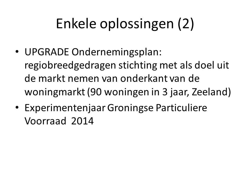 Enkele oplossingen (2) UPGRADE Ondernemingsplan: regiobreedgedragen stichting met als doel uit de markt nemen van onderkant van de woningmarkt (90 won