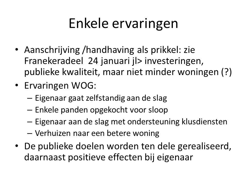 Enkele ervaringen Aanschrijving /handhaving als prikkel: zie Franekeradeel 24 januari jl> investeringen, publieke kwaliteit, maar niet minder woningen