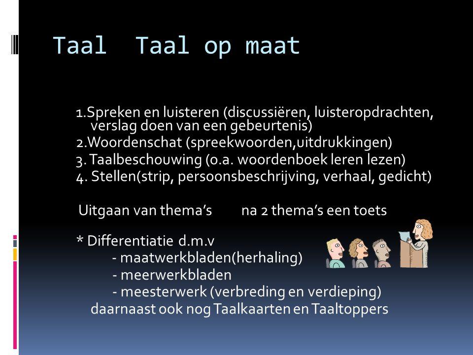 Taal Taal op maat 1.Spreken en luisteren (discussiëren, luisteropdrachten, verslag doen van een gebeurtenis) 2.Woordenschat (spreekwoorden,uitdrukking