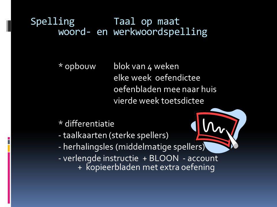 SpellingTaal op maat woord- en werkwoordspelling * opbouw blok van 4 weken elke week oefendictee oefenbladen mee naar huis vierde week toetsdictee * d