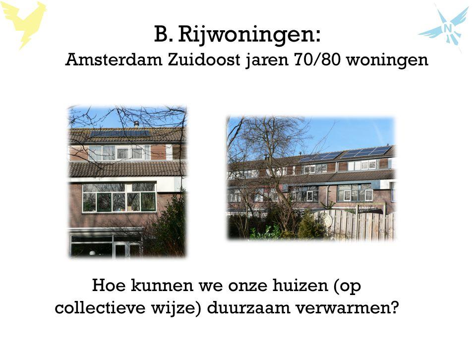 B. Rijwoningen: Amsterdam Zuidoost jaren 70/80 woningen Hoe kunnen we onze huizen (op collectieve wijze) duurzaam verwarmen?