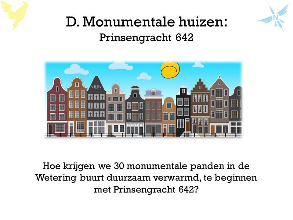 D. Monumentale huizen : Prinsengracht 642 Hoe krijgen we 30 monumentale panden in de Wetering buurt duurzaam verwarmd, te beginnen met Prinsengracht 6