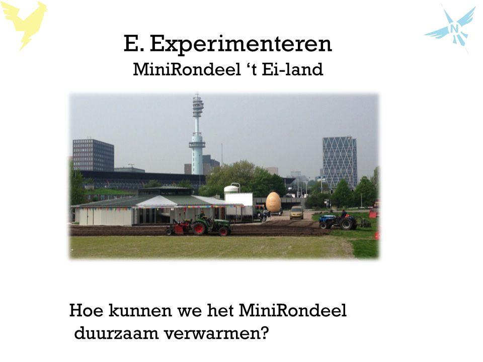 E. Experimenteren MiniRondeel 't Ei-land Hoe kunnen we het MiniRondeel duurzaam verwarmen?