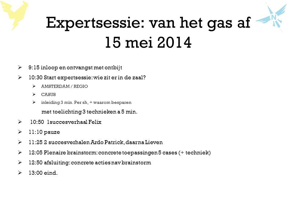 Expertsessie: van het gas af 15 mei 2014  9:15 inloop en ontvangst met ontbijt  10:30 Start expertsessie: wie zit er in de zaal?  AMSTERDAM / REGIO