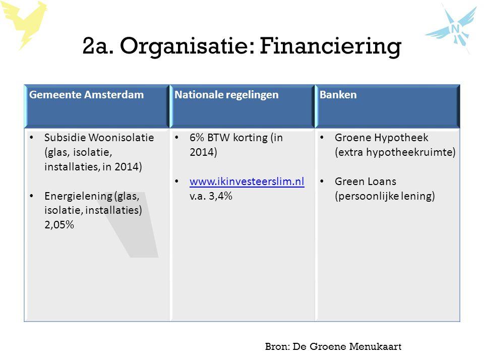 2a. Organisatie: Financiering Gemeente AmsterdamNationale regelingenBanken Subsidie Woonisolatie (glas, isolatie, installaties, in 2014) Energielening