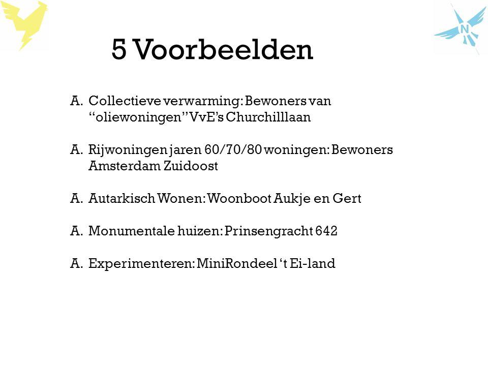 """5 Voorbeelden A.Collectieve verwarming: Bewoners van """"oliewoningen"""" VvE's Churchilllaan A.Rijwoningen jaren 60/70/80 woningen: Bewoners Amsterdam Zuid"""
