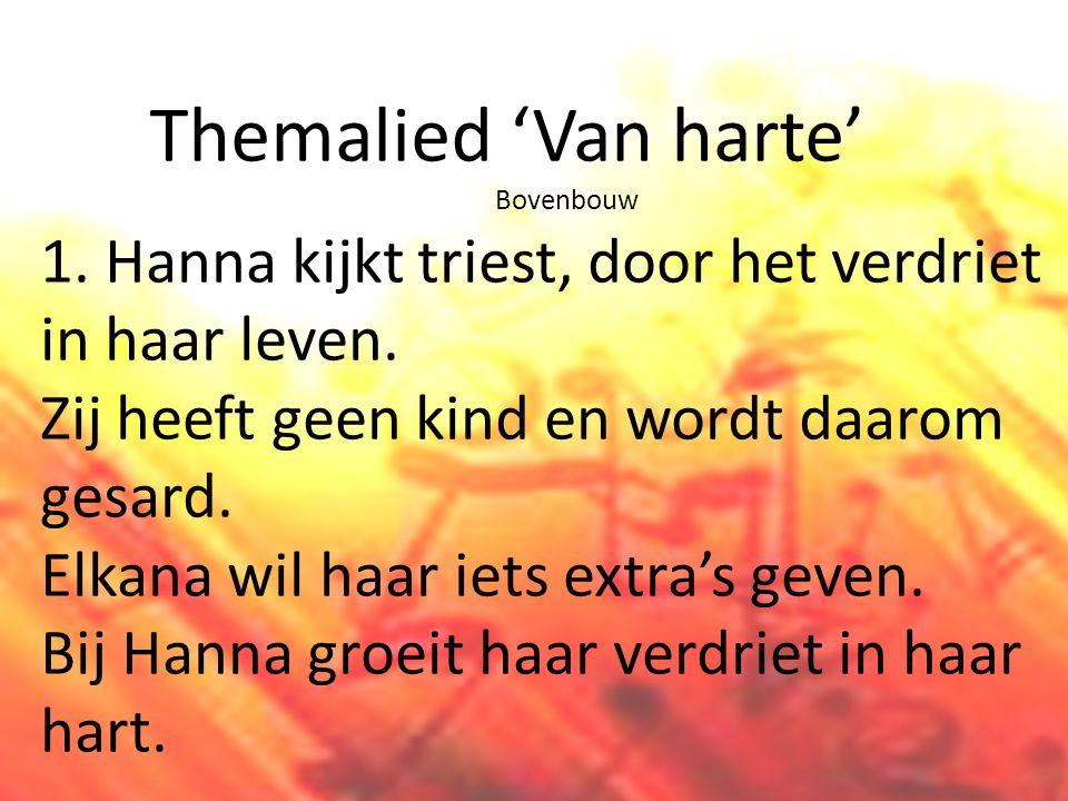 Themalied 'Van harte' Bovenbouw 1.Hanna kijkt triest, door het verdriet in haar leven.