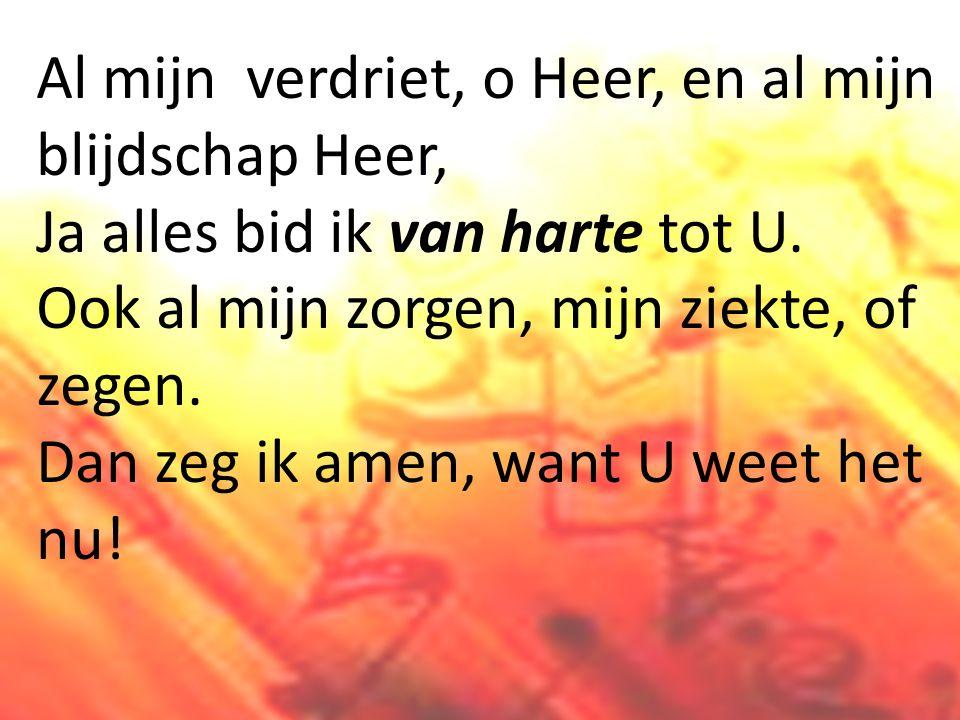 Al mijn verdriet, o Heer, en al mijn blijdschap Heer, Ja alles bid ik van harte tot U.
