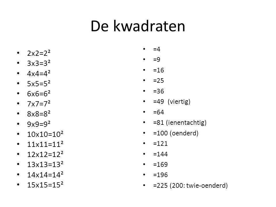 De kwadraten 2x2=2² 3x3=3² 4x4=4² 5x5=5² 6x6=6² 7x7=7² 8x8=8² 9x9=9² 10x10=10² 11x11=11² 12x12=12² 13x13=13² 14x14=14² 15x15=15² =4 =9 =16 =25 =36 =49 (viertig) =64 =81 (ienentachtig) =100 (oenderd) =121 =144 =169 =196 =225 (200: twie-oenderd)