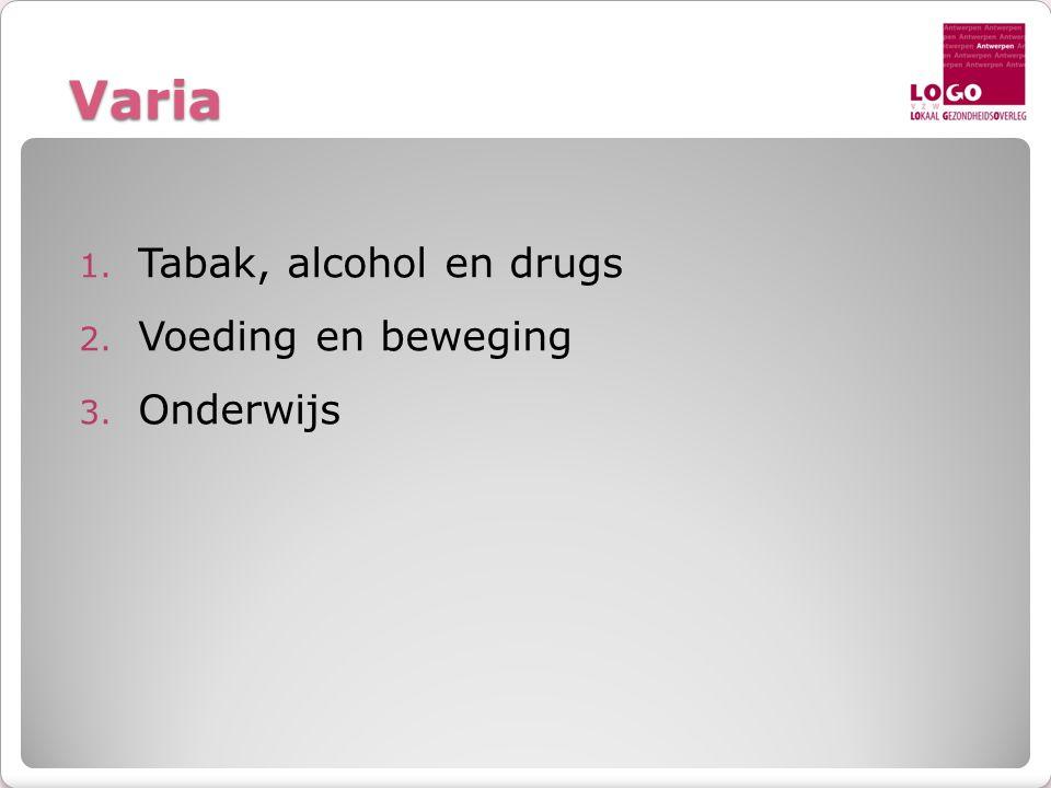 Varia 1. Tabak, alcohol en drugs 2. Voeding en beweging 3. Onderwijs