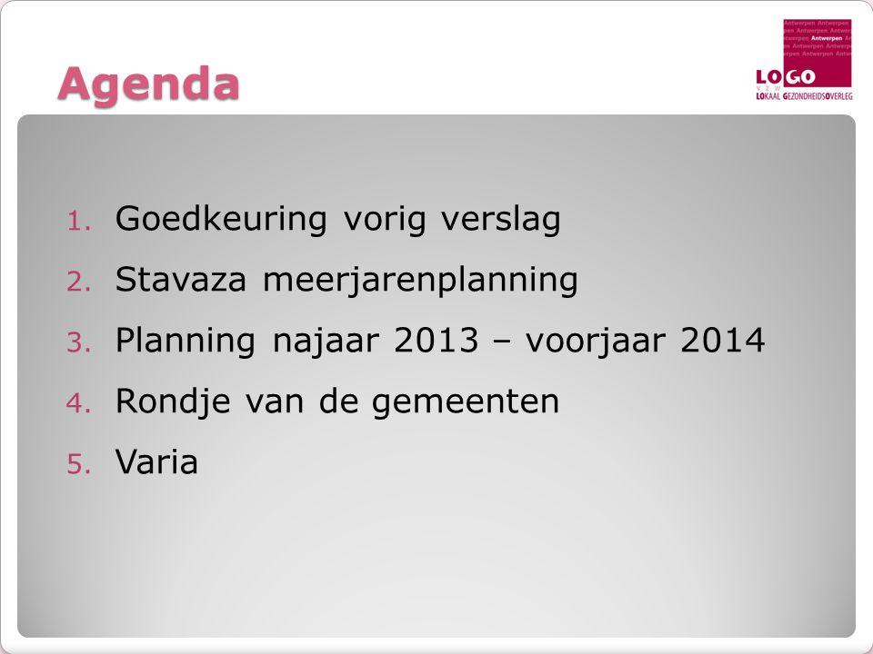 Agenda 1. Goedkeuring vorig verslag 2. Stavaza meerjarenplanning 3.