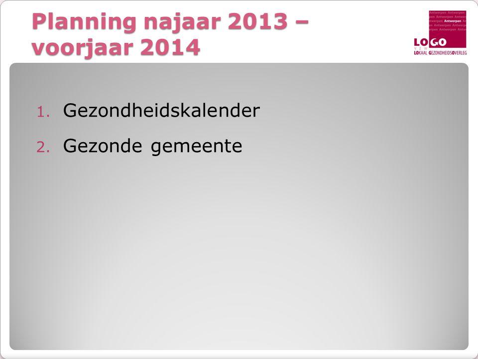 Planning najaar 2013 – voorjaar 2014 1. Gezondheidskalender 2. Gezonde gemeente