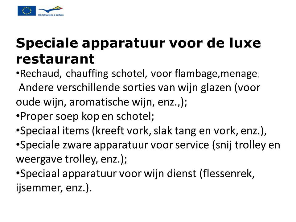 Speciale apparatuur voor de luxe restaurant Rechaud, chauffing schotel, voor flambage,menage ; Andere verschillende sorties van wijn glazen (voor oude