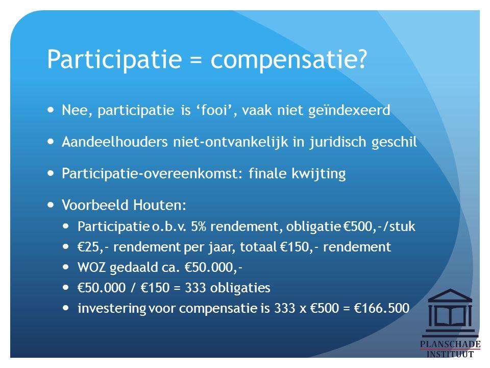 Participatie = compensatie? Nee, participatie is 'fooi', vaak niet geïndexeerd Aandeelhouders niet-ontvankelijk in juridisch geschil Participatie-over