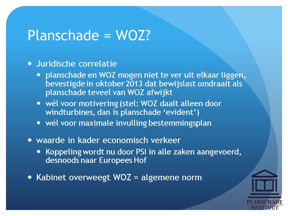 Planschade = WOZ? Juridische correlatie planschade en WOZ mogen niet te ver uit elkaar liggen, bevestigde in oktober 2013 dat bewijslast omdraait als