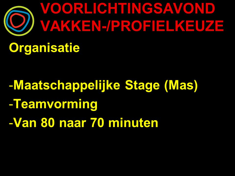 VOORLICHTINGSAVOND VAKKEN-/PROFIELKEUZE Organisatie -Maatschappelijke Stage (Mas) -Teamvorming -Van 80 naar 70 minuten