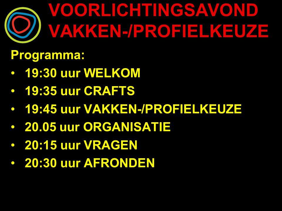 VOORLICHTINGSAVOND VAKKEN-/PROFIELKEUZE Programma: 19:30 uur WELKOM 19:35 uur CRAFTS 19:45 uur VAKKEN-/PROFIELKEUZE 20.05 uur ORGANISATIE 20:15 uur VRAGEN 20:30 uur AFRONDEN