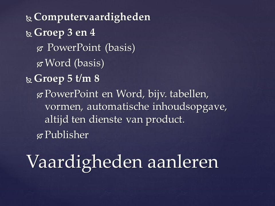  Computervaardigheden  Groep 3 en 4  PowerPoint (basis)  Word (basis)  Groep 5 t/m 8  PowerPoint en Word, bijv. tabellen, vormen, automatische i