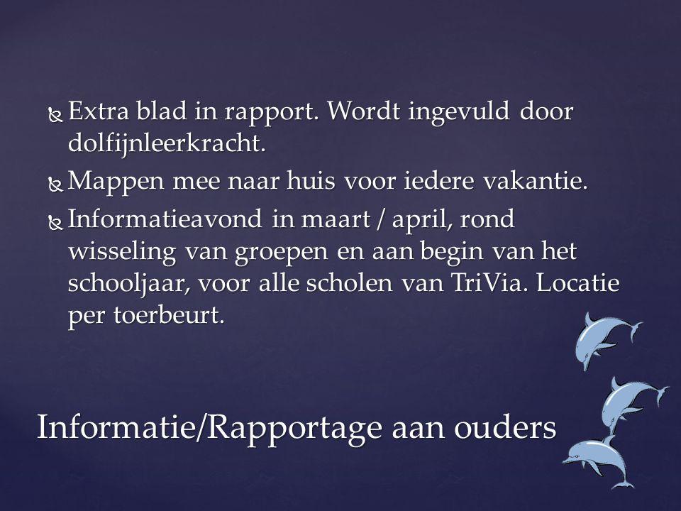  Extra blad in rapport. Wordt ingevuld door dolfijnleerkracht.  Mappen mee naar huis voor iedere vakantie.  Informatieavond in maart / april, rond