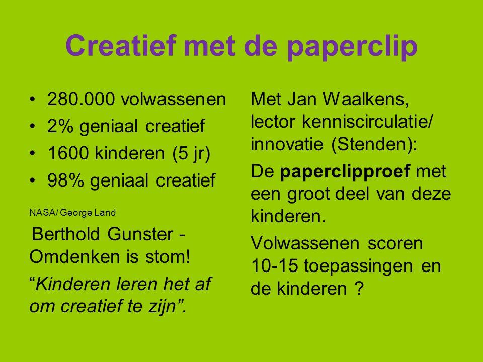 Creatief met de paperclip 280.000 volwassenen 2% geniaal creatief 1600 kinderen (5 jr) 98% geniaal creatief NASA/ George Land Berthold Gunster - Omden
