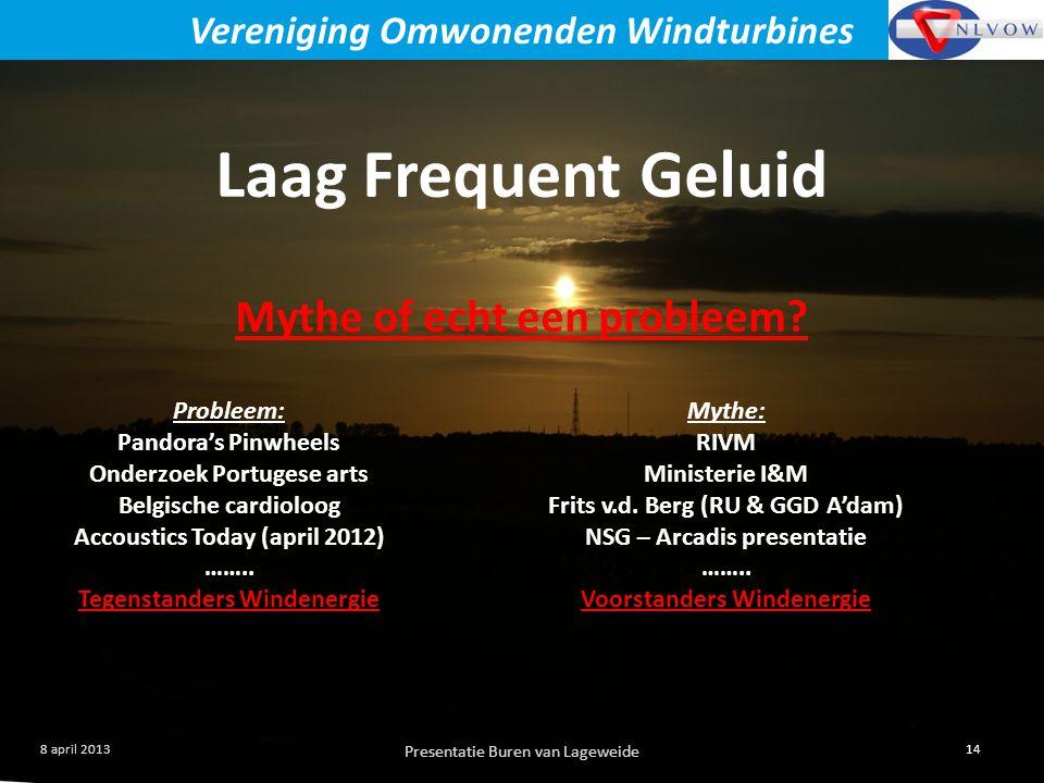 Presentatie Buren van Lageweide 14 8 april 2013 Vereniging Omwonenden Windturbines Laag Frequent Geluid Mythe of echt een probleem.