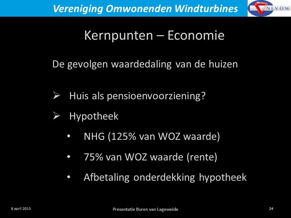 Presentatie Buren van Lageweide 24 8 april 2013 Vereniging Omwonenden Windturbines Kernpunten – Economie De gevolgen waardedaling van de huizen  Huis als pensioenvoorziening.