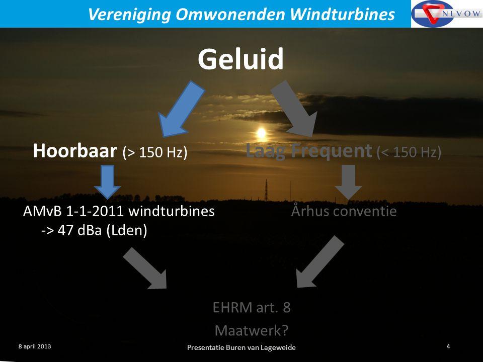 Presentatie Buren van Lageweide 4 8 april 2013 Vereniging Omwonenden Windturbines Geluid Hoorbaar (> 150 Hz) Laag Frequent (< 150 Hz) AMvB 1-1-2011 windturbines -> 47 dBa (Lden) Århus conventie EHRM art.