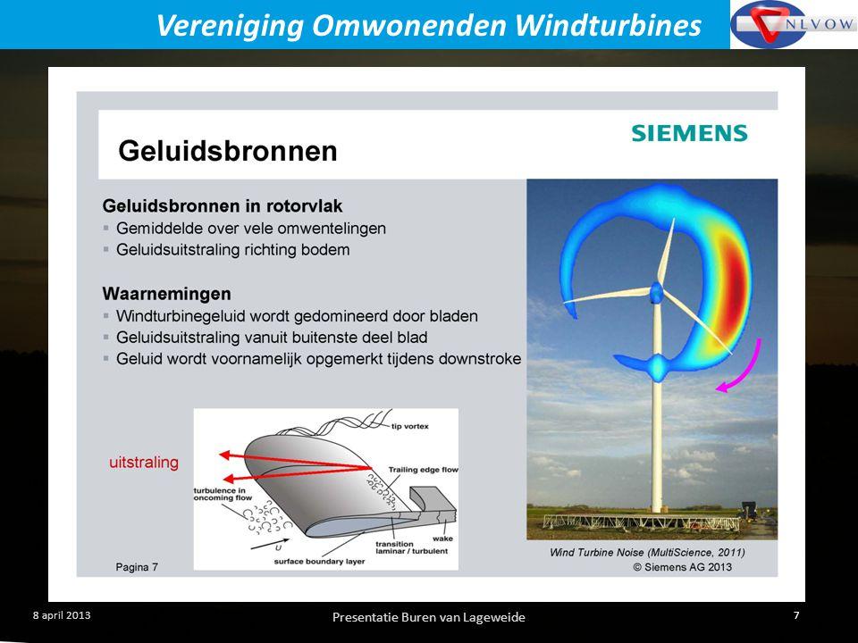 Presentatie Buren van Lageweide 7 8 april 2013 Vereniging Omwonenden Windturbines