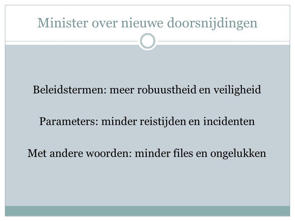 Minister over nieuwe doorsnijdingen Beleidstermen: meer robuustheid en veiligheid Parameters: minder reistijden en incidenten Met andere woorden: mind