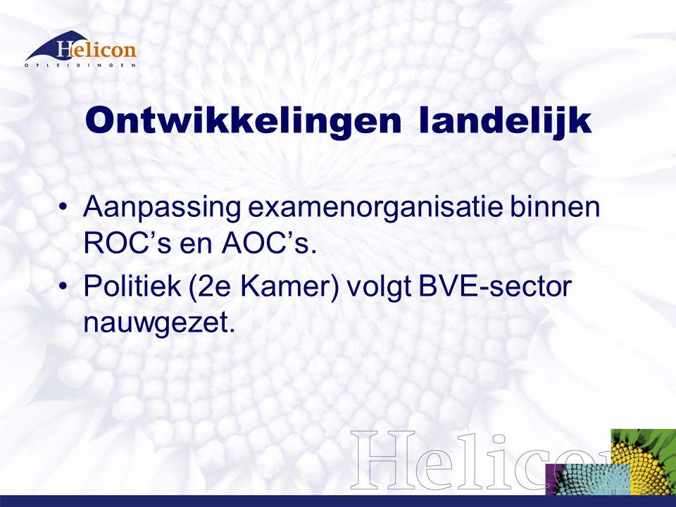Ontwikkelingen landelijk Aanpassing examenorganisatie binnen ROC's en AOC's.