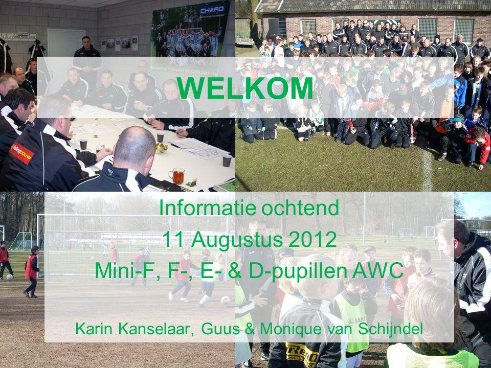 AWC Voetbal Academie WELKOM Informatie ochtend 11 Augustus 2012 Mini-F, F-, E- & D-pupillen AWC Karin Kanselaar, Guus & Monique van Schijndel