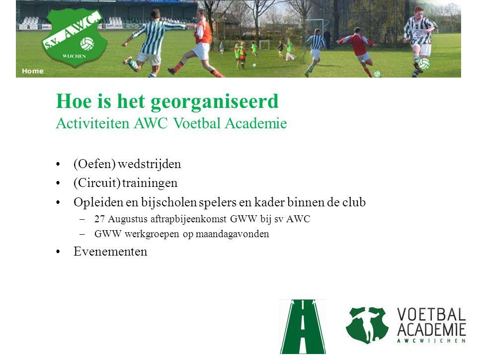 (Oefen) wedstrijden (Circuit) trainingen Opleiden en bijscholen spelers en kader binnen de club –27 Augustus aftrapbijeenkomst GWW bij sv AWC –GWW wer