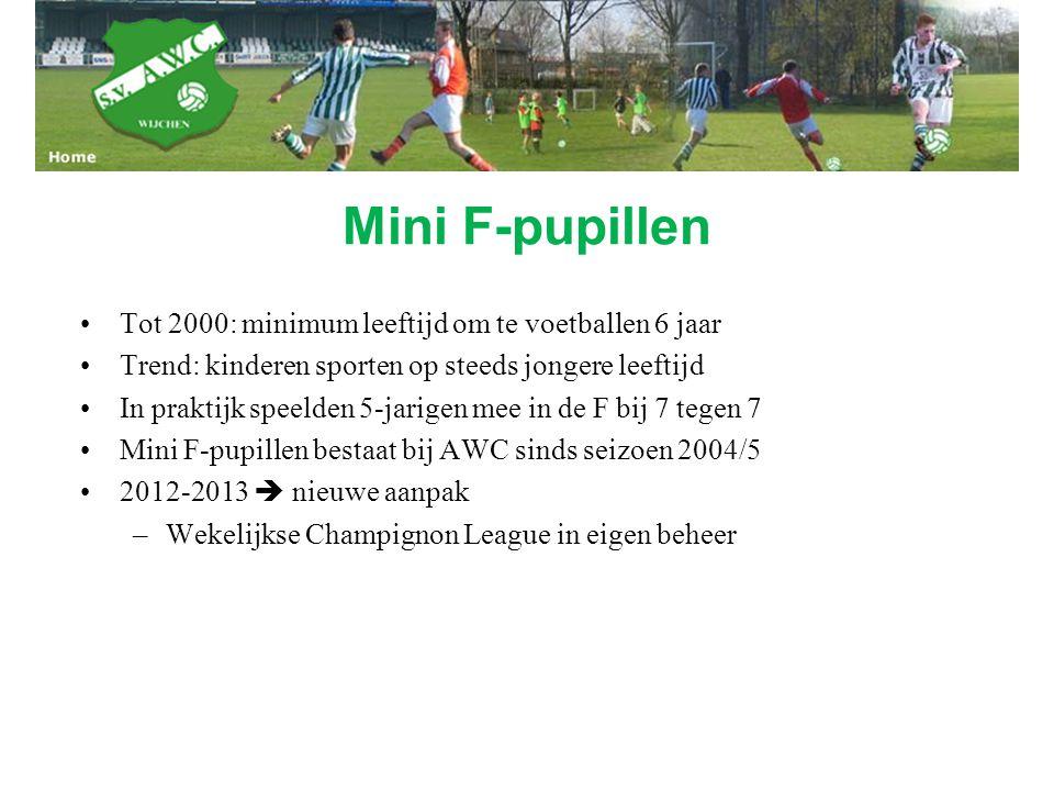Mini F-pupillen Tot 2000: minimum leeftijd om te voetballen 6 jaar Trend: kinderen sporten op steeds jongere leeftijd In praktijk speelden 5-jarigen m