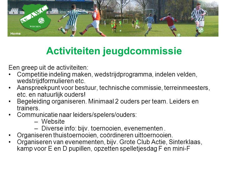Een greep uit de activiteiten: Competitie indeling maken, wedstrijdprogramma, indelen velden, wedstrijdformulieren etc. Aanspreekpunt voor bestuur, te