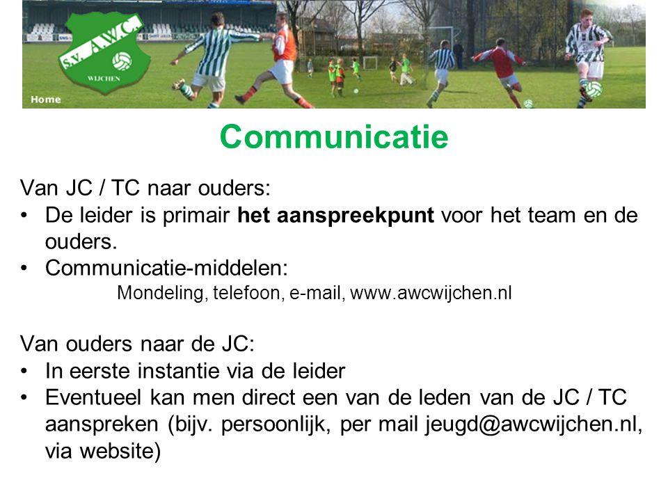 Communicatie Van JC / TC naar ouders: De leider is primair het aanspreekpunt voor het team en de ouders. Communicatie-middelen: Mondeling, telefoon, e