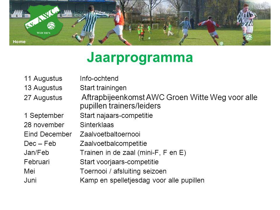Jaarprogramma 11 AugustusInfo-ochtend 13 AugustusStart trainingen 27 Augustus Aftrapbijeenkomst AWC Groen Witte Weg voor alle pupillen trainers/leider