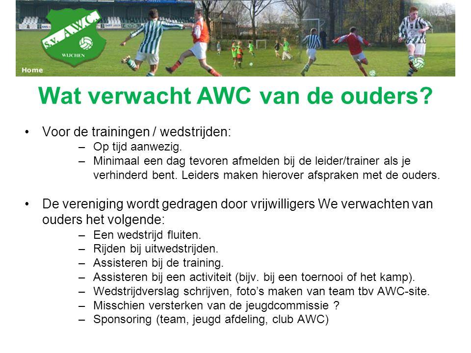 Wat verwacht AWC van de ouders? Voor de trainingen / wedstrijden: –Op tijd aanwezig. –Minimaal een dag tevoren afmelden bij de leider/trainer als je v