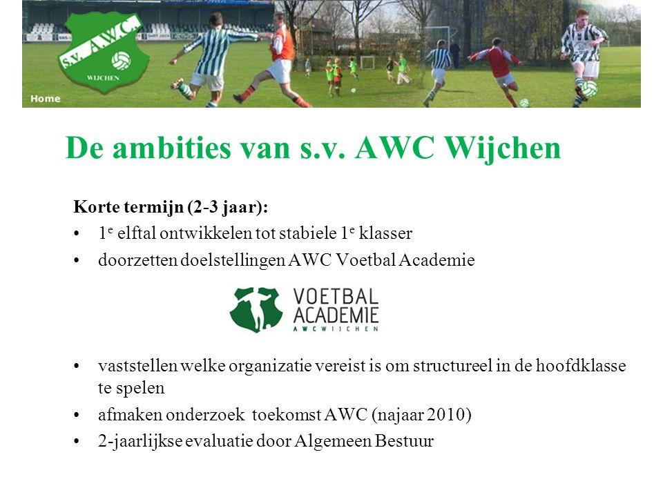 De ambities van s.v. AWC Wijchen Korte termijn (2-3 jaar): 1 e elftal ontwikkelen tot stabiele 1 e klasser doorzetten doelstellingen AWC Voetbal Acade