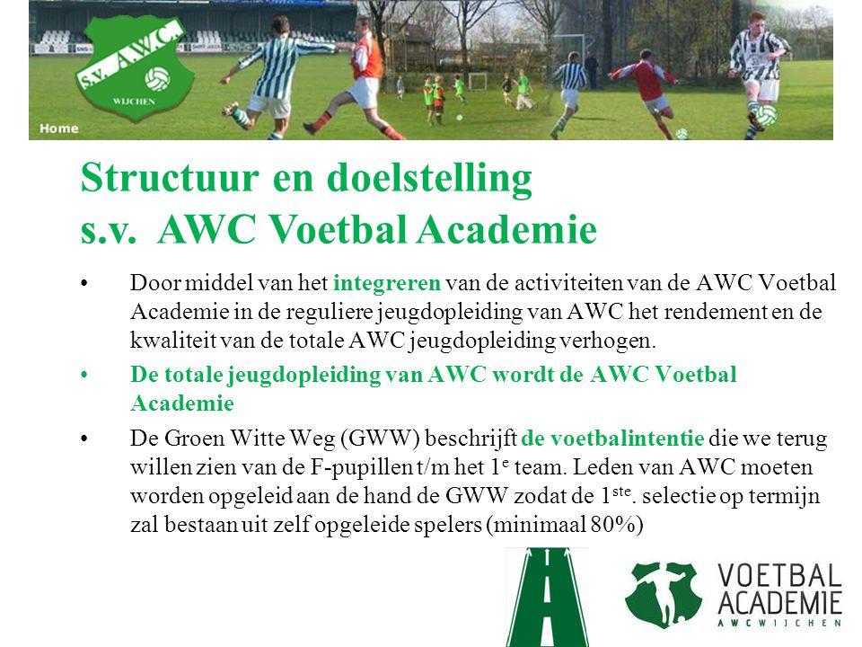 De Groen Witte Weg Het aanleren van een eenduidige voetbalintentie die logisch is opgebouwd van mini/F pupillen tot het 1e elftal Hierdoor moet de jeugdopleiding van AWC naar een hoger nivo getild worden met de ambitie dat uiteindelijk minimaal 80/90% van het toekomstige 1e elftal, spelers zijn uit de eigen opleiding.