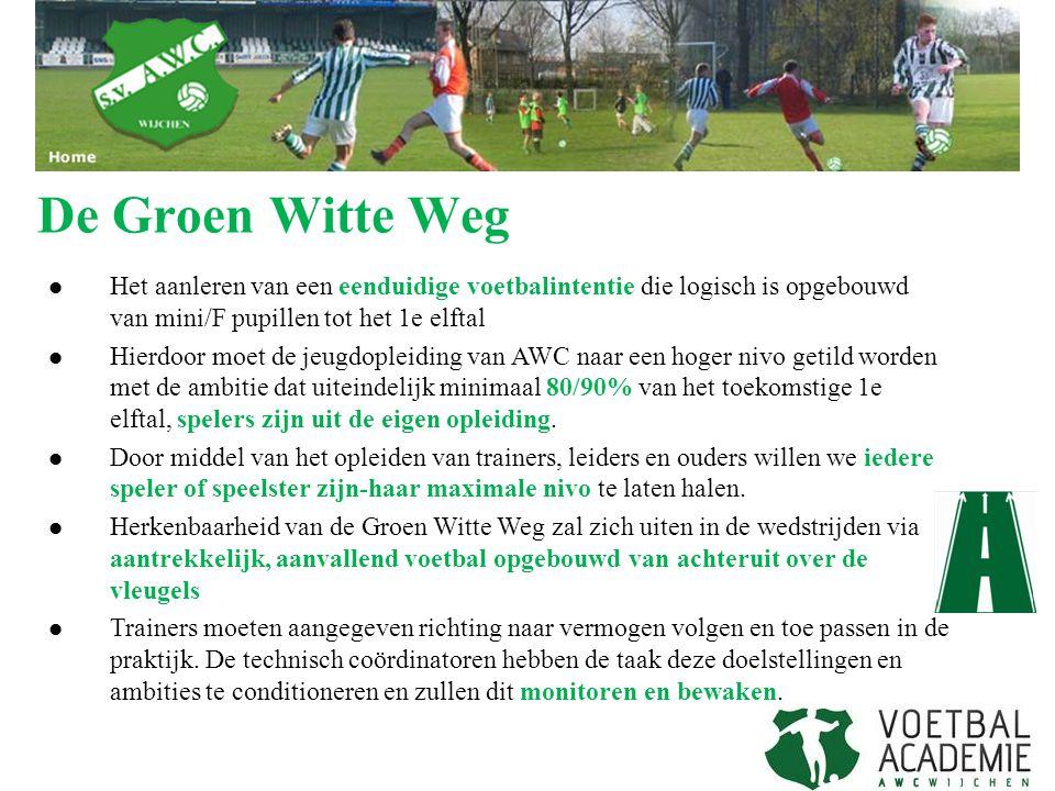 De Groen Witte Weg Het aanleren van een eenduidige voetbalintentie die logisch is opgebouwd van mini/F pupillen tot het 1e elftal Hierdoor moet de jeu