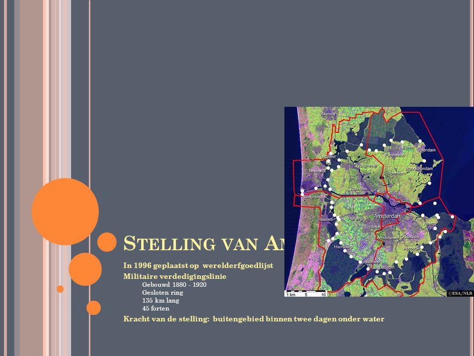 K INDERDIJK Sinds 1997 op werelderfgoedlijst Kinderdijk Dorp vlakbij Rotterdam Heeft 19 molens, gebouwd rond 1740 De molens Zijn goed onderhouden en nog steeds in gebruik Pompen overtollig water uit de Alblasserwaard naar de rivier de Lek