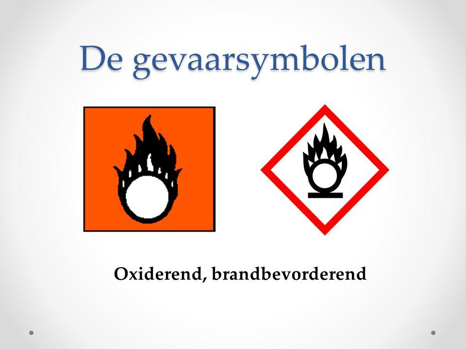 De gevaarsymbolen Oxiderend, brandbevorderend