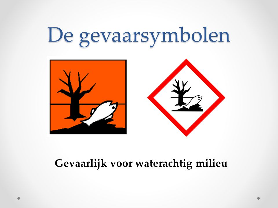De gevaarsymbolen Gevaarlijk voor waterachtig milieu