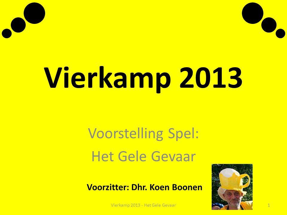Vierkamp 2013 Voorstelling Spel: Het Gele Gevaar Voorzitter: Dhr. Koen Boonen Vierkamp 2013 - Het Gele Gevaar1