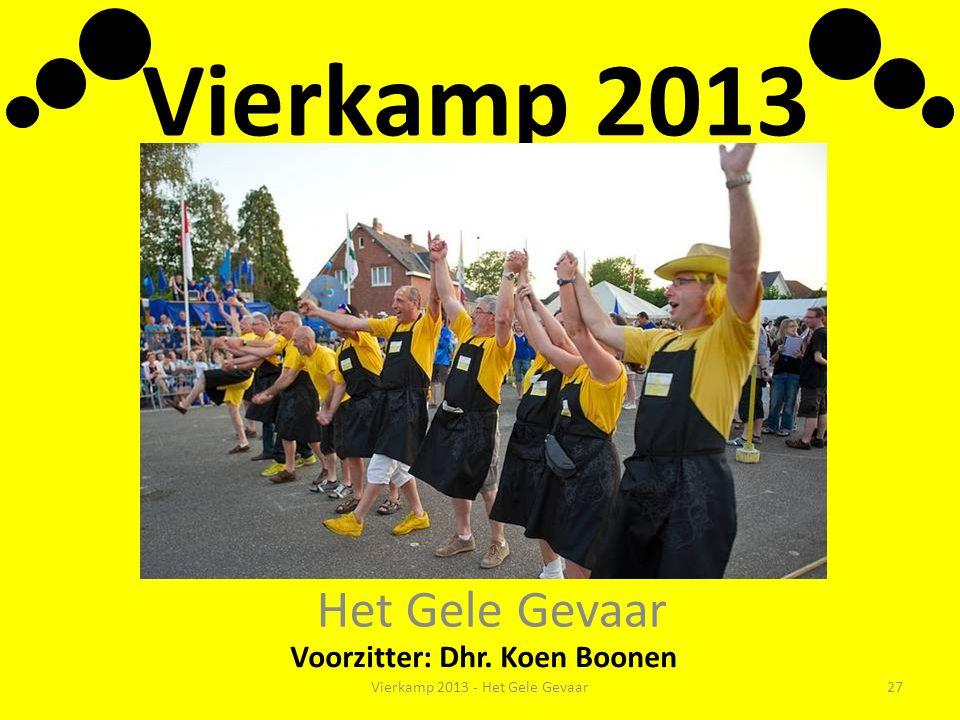 Vierkamp 2013 Het Gele Gevaar Voorzitter: Dhr. Koen Boonen Vierkamp 2013 - Het Gele Gevaar27