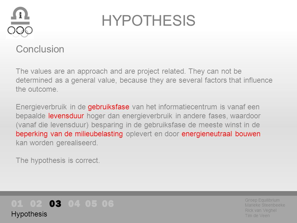 HYPOTHESIS Groep Equilibrium Marieke Steenbeeke Rick van Veghel Tim de Veen Hypothesis Conclusion The values are an approach and are project related.