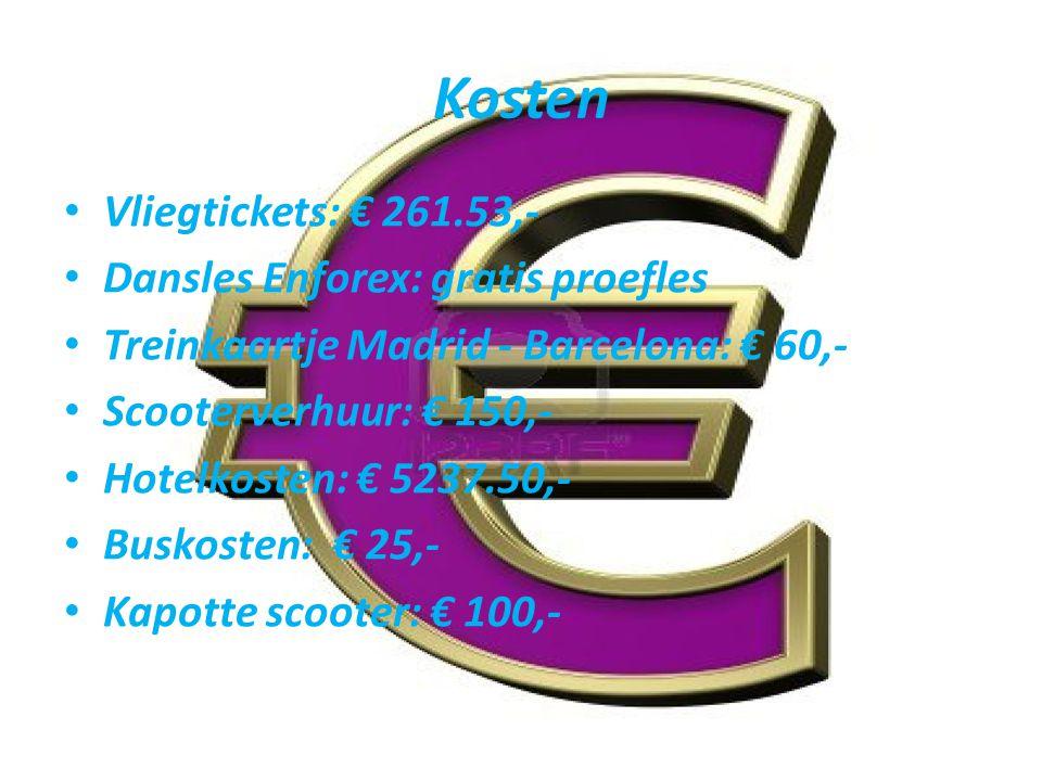 Kosten Vliegtickets: € 261.53,- Dansles Enforex: gratis proefles Treinkaartje Madrid - Barcelona: € 60,- Scooterverhuur: € 150,- Hotelkosten: € 5237.50,- Buskosten: € 25,- Kapotte scooter: € 100,-