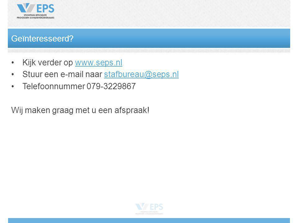 Kijk verder op www.seps.nlwww.seps.nl Stuur een e-mail naar stafbureau@seps.nlstafbureau@seps.nl Telefoonnummer 079-3229867 Wij maken graag met u een