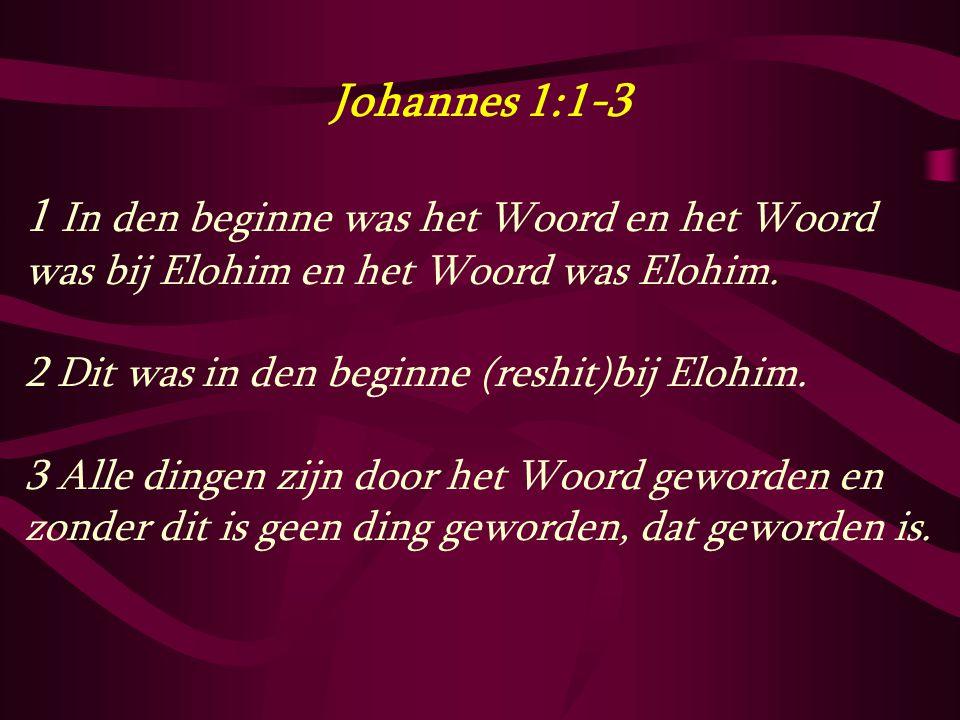 Johannes 1:1-3 1 In den beginne was het Woord en het Woord was bij Elohim en het Woord was Elohim. 2 Dit was in den beginne (reshit)bij Elohim. 3 Alle